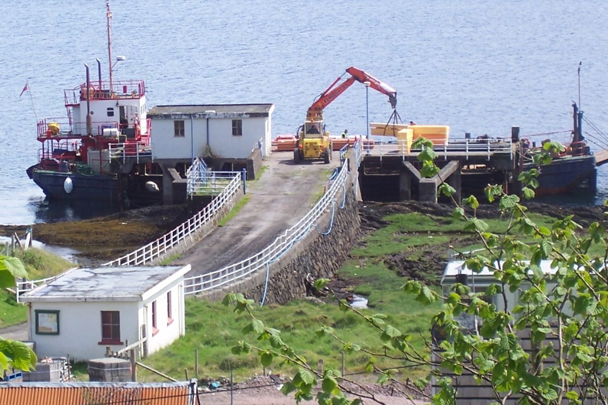 Offloading building material at the deep pier
